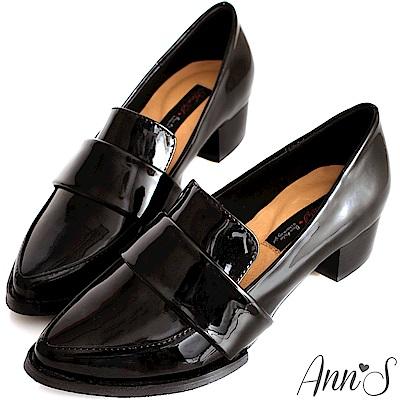 Ann'S時髦復古-韓系粗跟紳士休閒便鞋-漆皮黑
