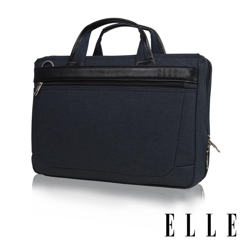 ELLE HOMME-尼龍x皮革14吋筆電收納兩用公事包-藏青