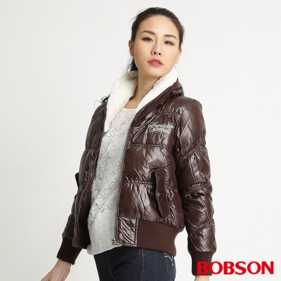 BOBSON 女款高領片羽絨外套(咖76)
