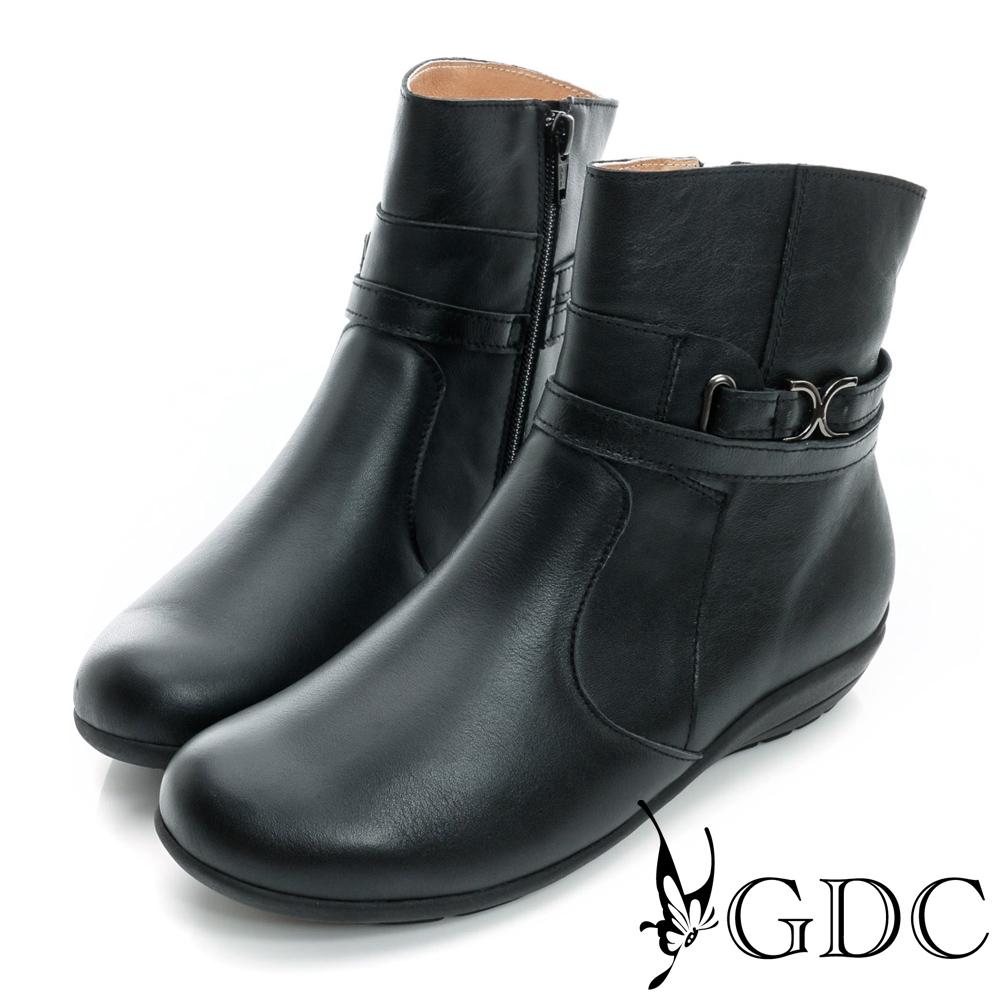 GDC個性-雙繞帶拉鍊楔型低跟真皮短靴-黑色