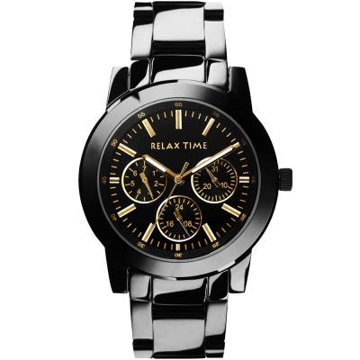 Relax Time 炫彩中性日曆手錶-黑x金時標/42.5mm