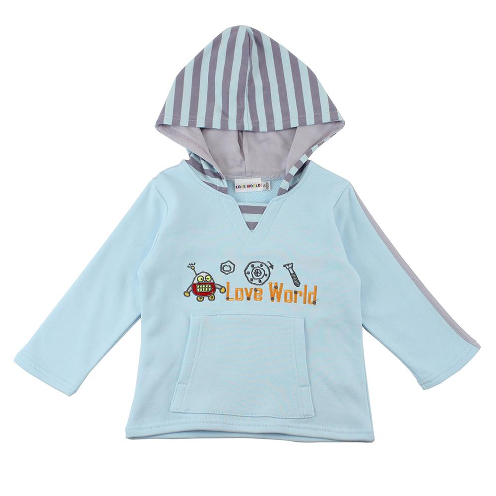 愛的世界 純棉前口袋連帽上衣/2~4歲
