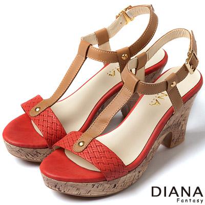 DIANA-夏日格調-T字編織時尚軟木紋涼跟鞋-橘紅