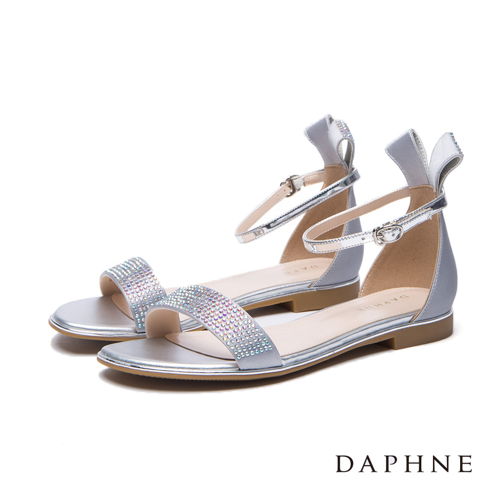 達芙妮DAPHNE涼鞋-立體緞帶造型水鑽一字平底涼鞋-灰