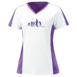 【ATUNAS 歐都納】女款吸濕排汗快乾抗UV短袖T恤 A-T1508W 白/紫