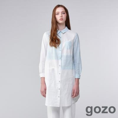 gozo藝術家格紋拼接襯衫洋裝(二色)