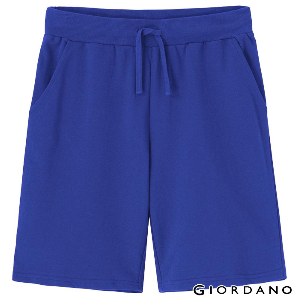 GIORDANO 男裝簡約棉質抽繩短褲-68琉璃藍