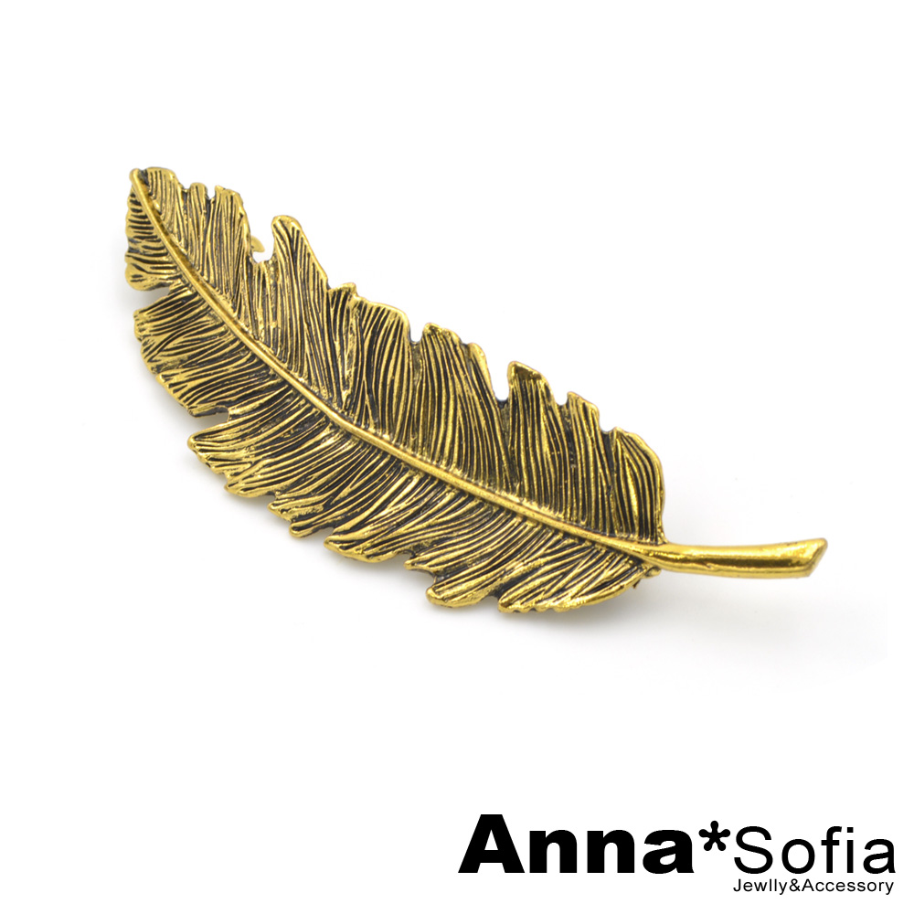 AnnaSofia 古典單羽葉 小髮夾(金系)