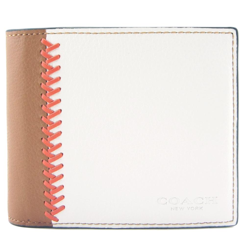 COACH 雙色全皮編織飾邊短夾(附證件夾/棕白)COACH