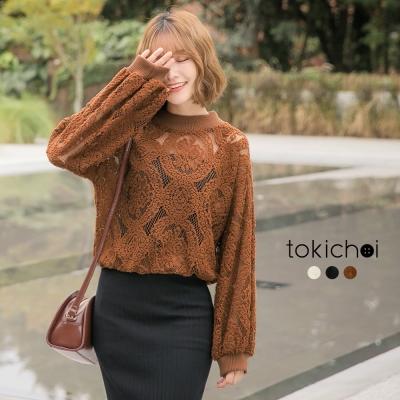 東京著衣 多色典雅鏤空蕾絲長袖上衣(共三色)