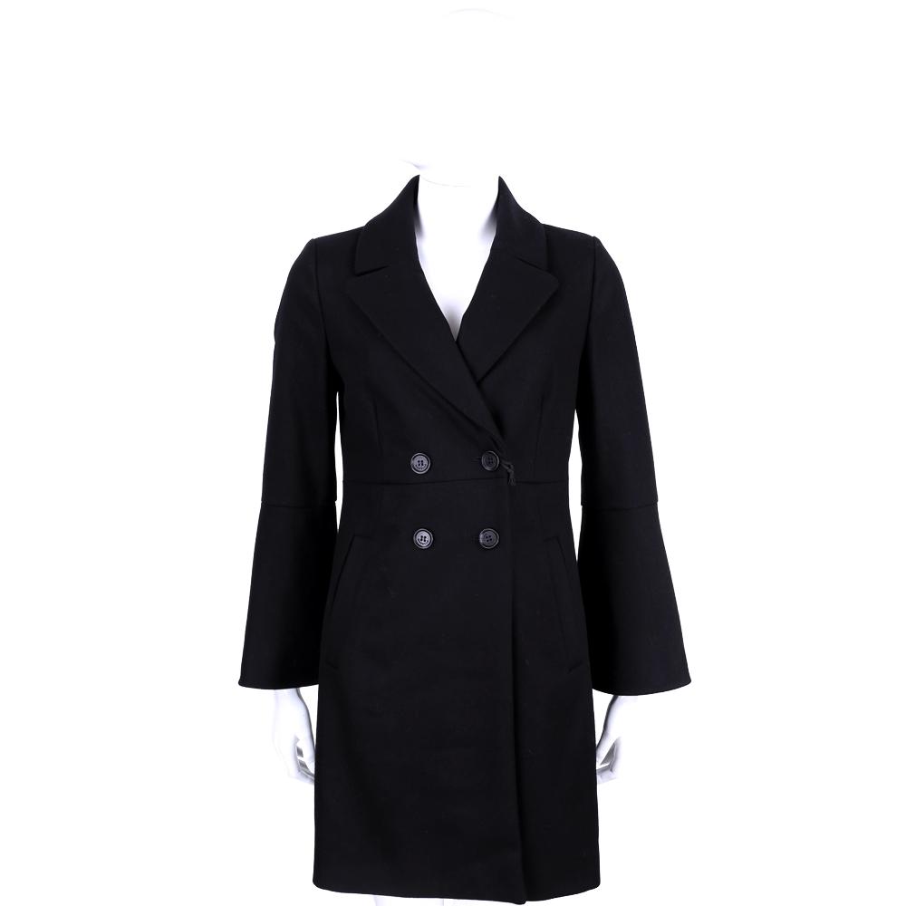 MARELLA 黑色翻領寬袖羊毛釦式大衣