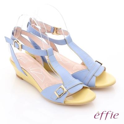 effie 軟芯系列 真皮軟墊T字楔型涼鞋 粉藍