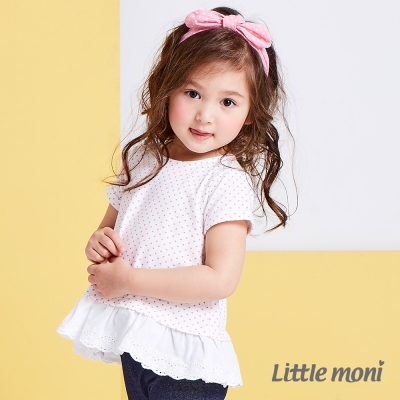 Little moni 俏皮女孩蕾絲拼接上衣 熱情粉