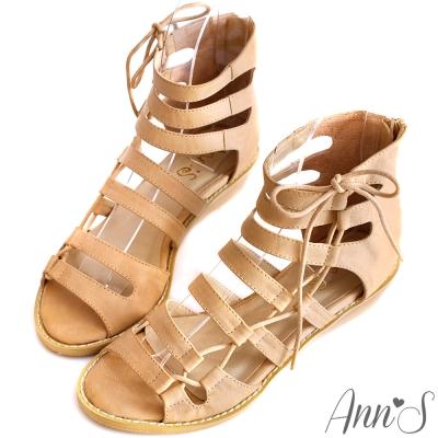 Ann'S歐美個性-擦色皮革綁帶造型涼鞋 杏