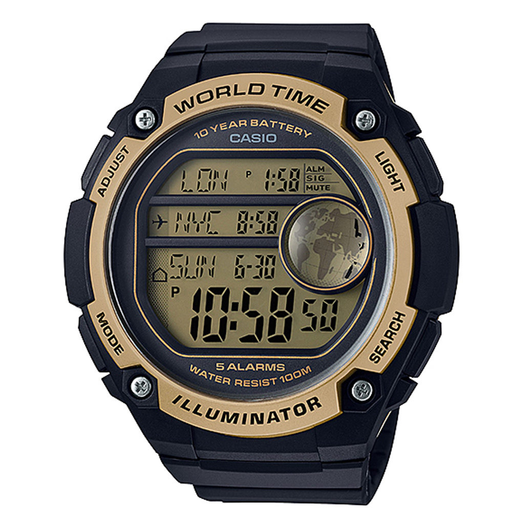 CASIO 球狀大錶面設計潮流運動數位錶(AE-3000W-9A)-黑x金框-55.5mm