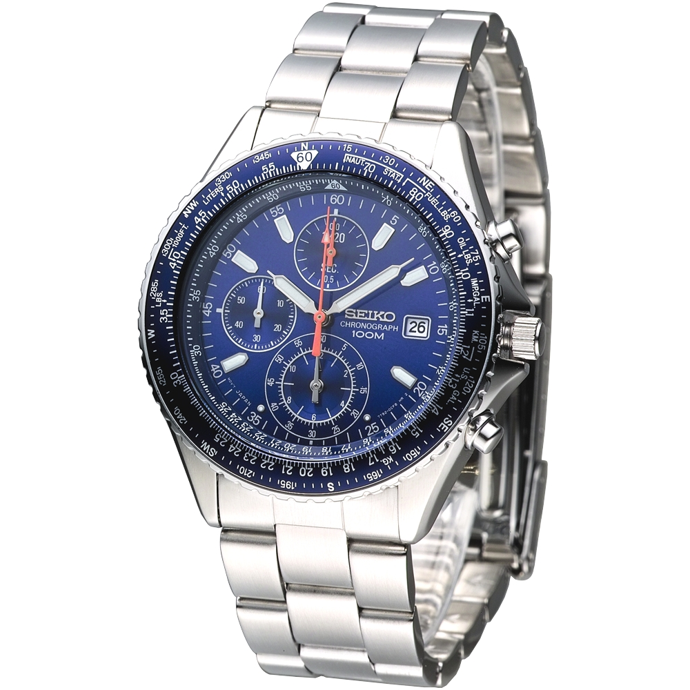 SEIKO 新航空飛行計時錶-藍/40mm