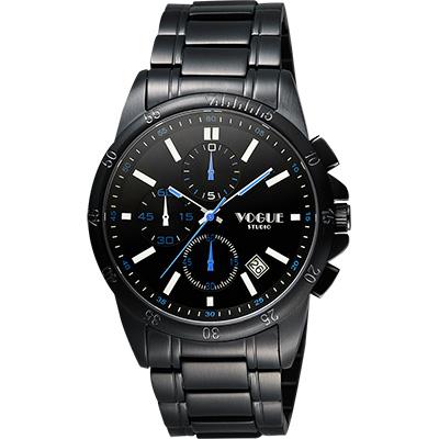 VOGUE 嶄新系列三眼計時腕錶-IP黑x白時標/40mm