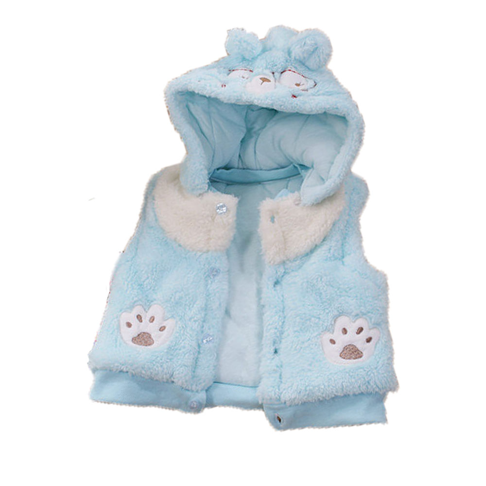 小熊毛絨厚鋪棉連帽外套 藍 k60047