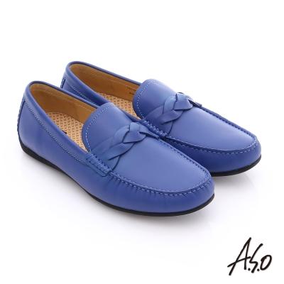 A.S.O 輕量抗震 真皮編織縫線奈米樂福鞋 寶藍色