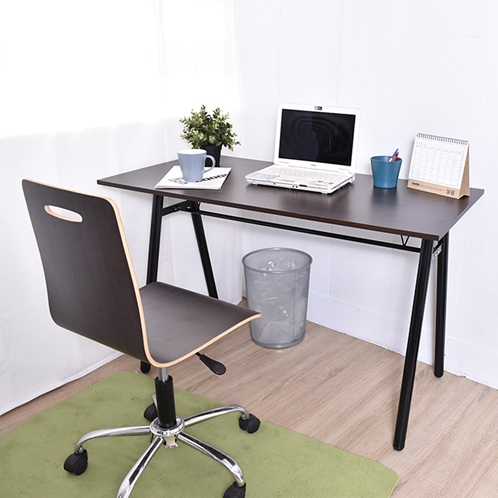 桌椅組 曲目鐵腳辦公椅 配 胡木A字工作桌