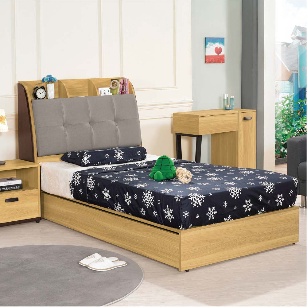 品家居 蘇菲3.5尺皮革單人收納床台組合(不含床墊)-107x218x114.3cm免組