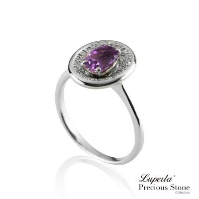 大東山珠寶 星座愛情紫水晶璀璨純銀戒指 紫戀羅蘭
