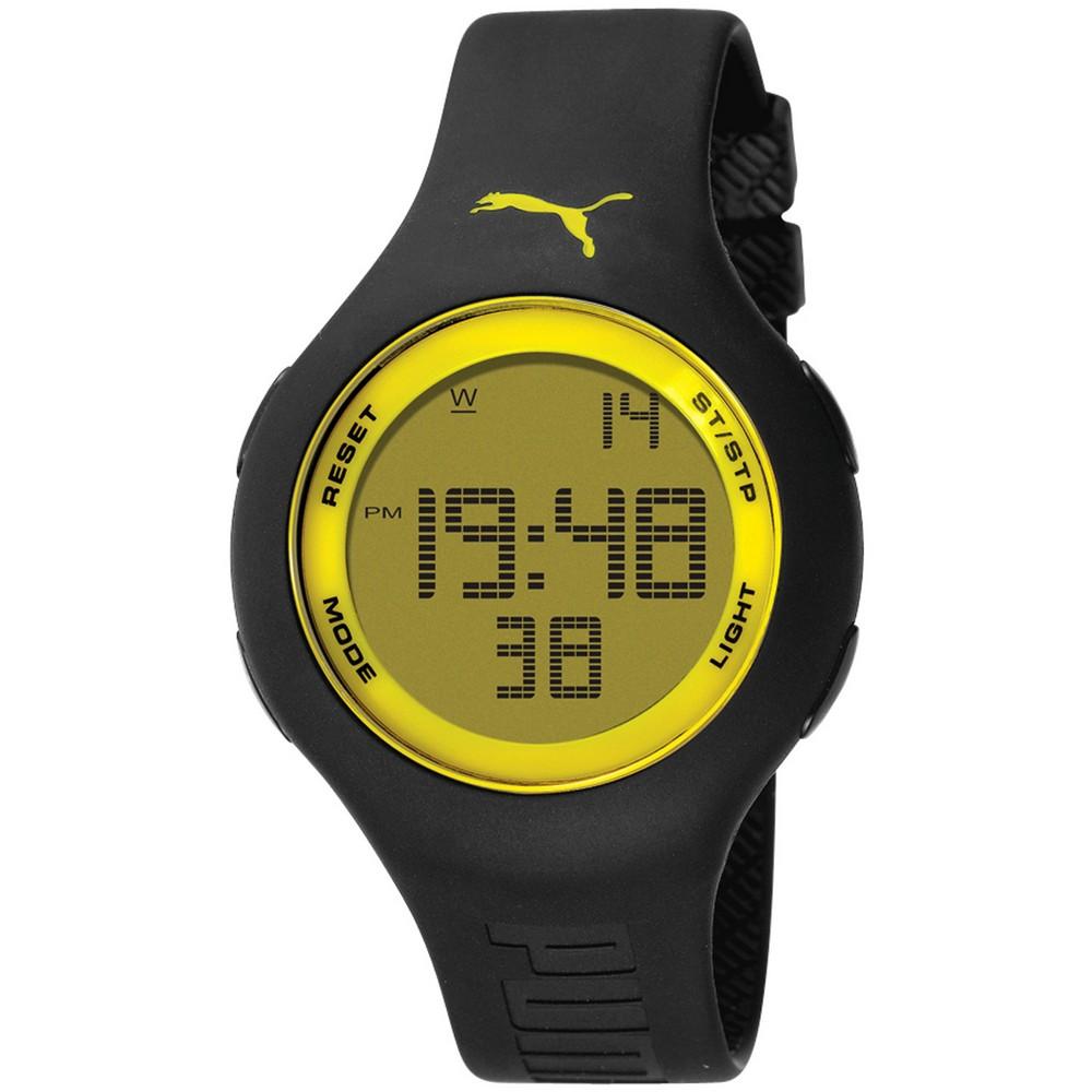 PUMA 陽光信號電子腕錶-黑x黃/44mm