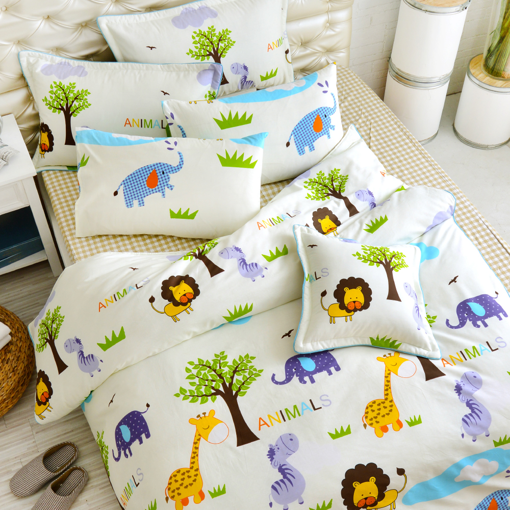 Grace Life 小小動物園 精梳純棉雙人涼被床包四件組