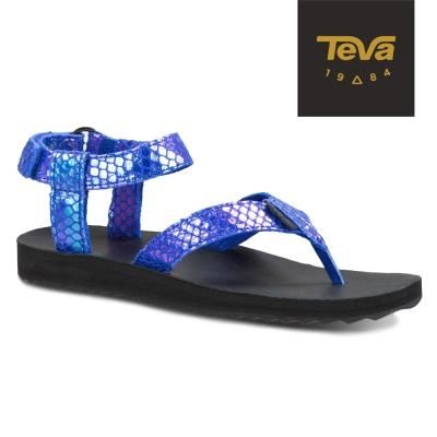 TEVA 美國-女 Original Sandal 真皮涼鞋 (蛇紋藍)