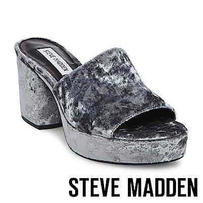 STEVE MADDEN-RELAX 絨布厚底粗跟涼拖鞋-灰色