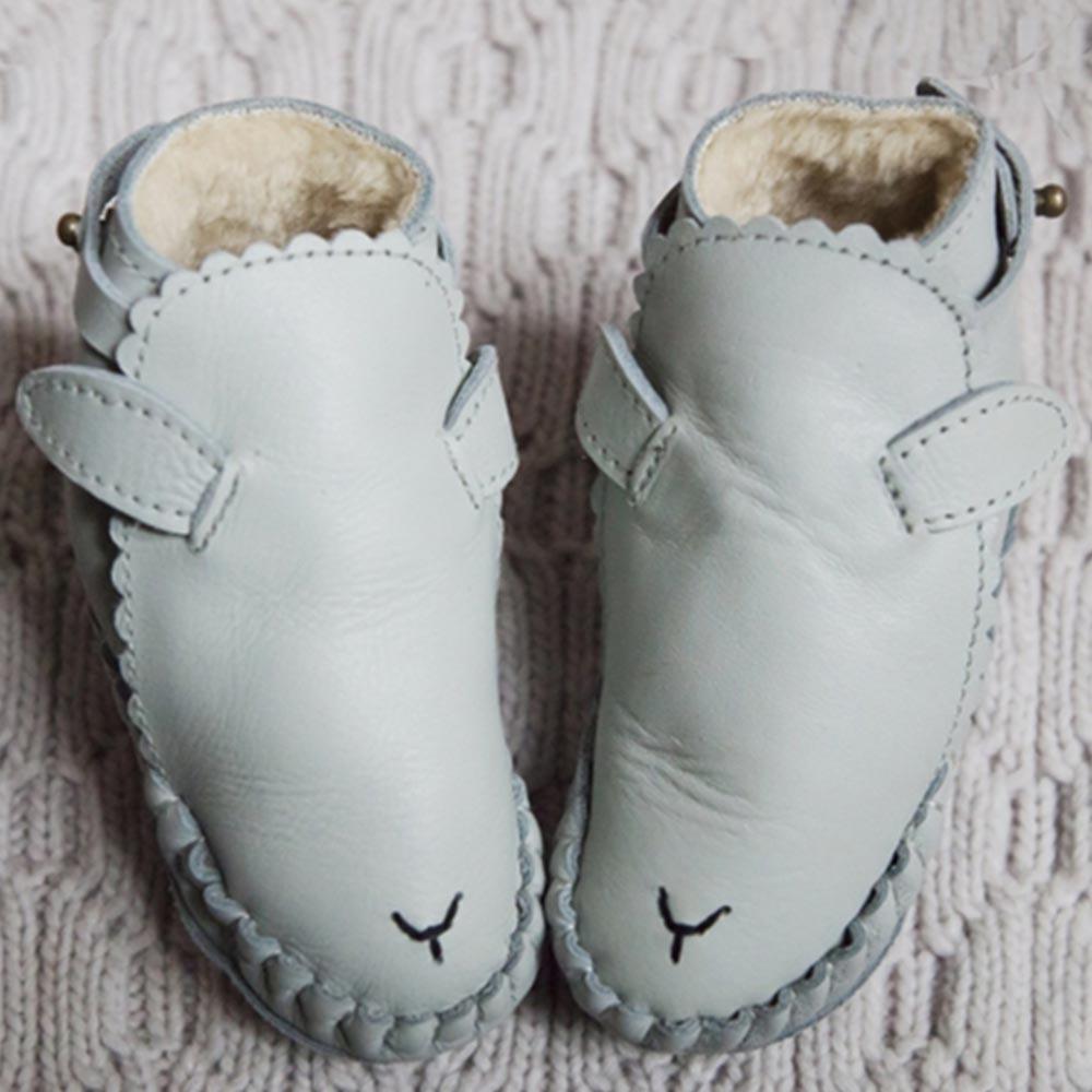 Donsje 荷蘭 淺灰小羊款動物造型內刷毛蝴蝶結真皮寶寶靴子