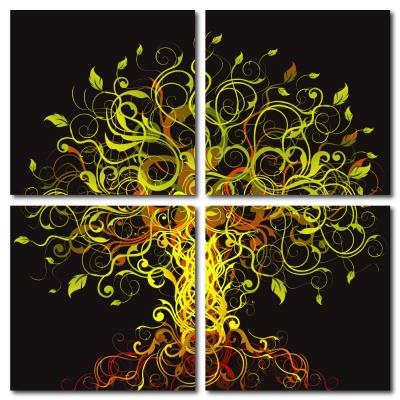 美學365-四聯式流行家飾無框藝術掛畫時鐘-花香引蝶-40x40cm