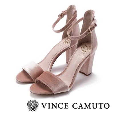 Vince Camuto 燈芯絨一字繫踝粗跟鞋-粉色