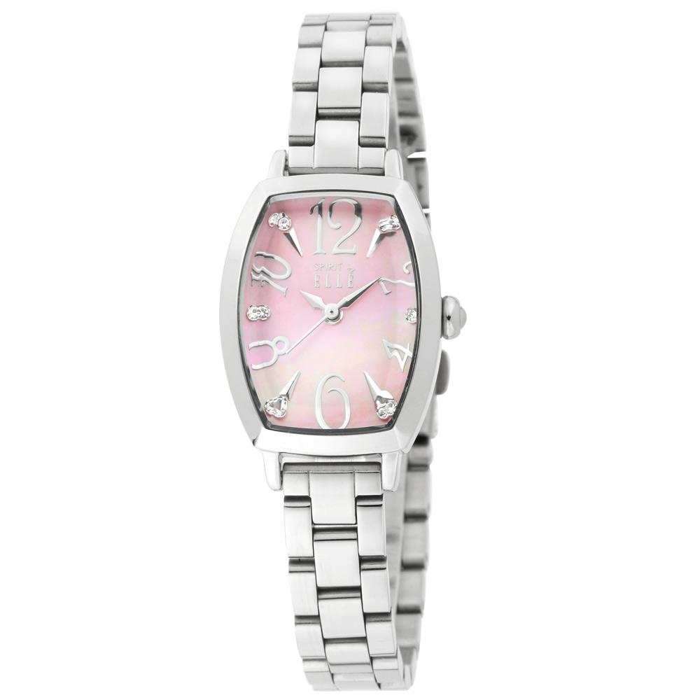 ELLE 波光粼粼水鑽時刻不鏽鋼腕錶-銀/22*34.5mm