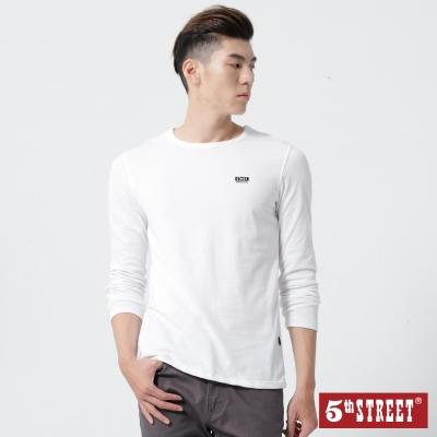 5th STREET 基本休閒LOGO長袖T恤-男-白色