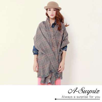 A~Surpriz 英式典雅混色格紋加長圍巾