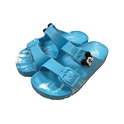 迪士尼童鞋 米奇 復古迷彩休閒拖鞋-水藍