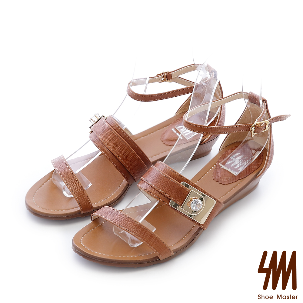 SM-羅馬系列-金屬水鑽飾釦一字低跟楔型涼鞋-棕色