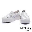 休閒鞋 MODA Luxury 率性質感沖孔設計全真皮厚底休閒鞋-白
