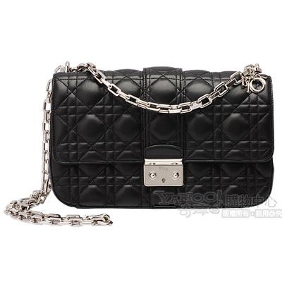 Christian Dior Miss Dior菱格壓紋小羊皮銀鍊斜背包中款長鍊