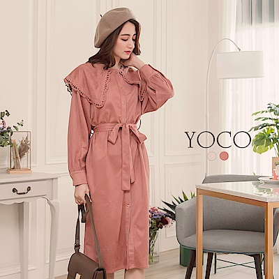 東京著衣-yoco復古氣質霧感開襟大領片設計綁帶洋裝-S.M.L(共二色)