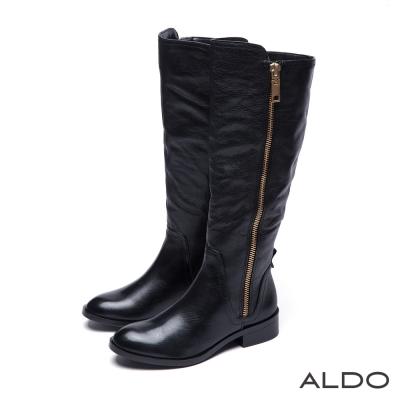 ALDO-優雅百搭真皮金屬拉鍊木紋粗跟長靴-尊爵黑