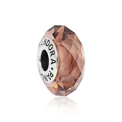 Pandora 潘朵拉 乾燥玫瑰色切割面琉璃珠 純銀墜飾 串珠