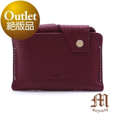 Moyoung 自然手感頂級牛皮票卡短夾  酒漾紅