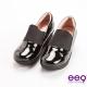 ee9 芯滿益足~率性異材質併接伸縮飾帶超輕楔型跟包鞋~黑漆