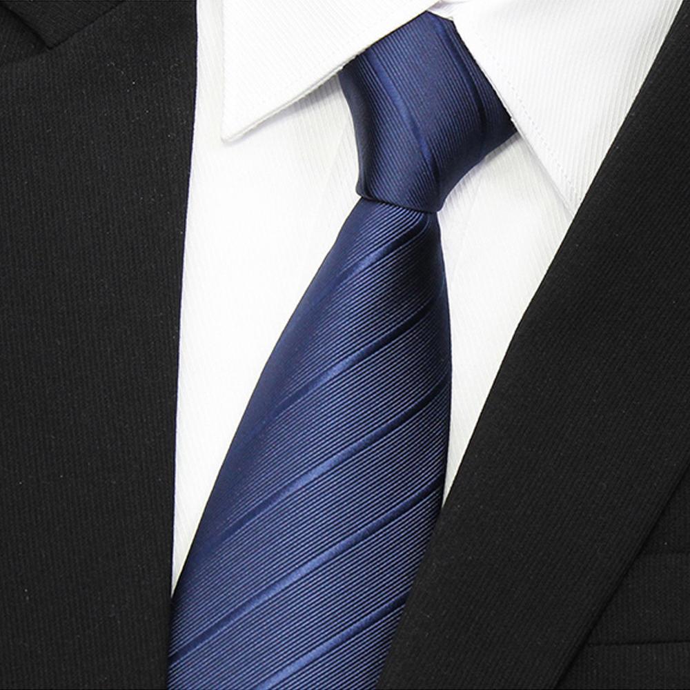 拉福 歐美領帶8cm寬版領帶拉鍊領帶(藍斜.黑斜)