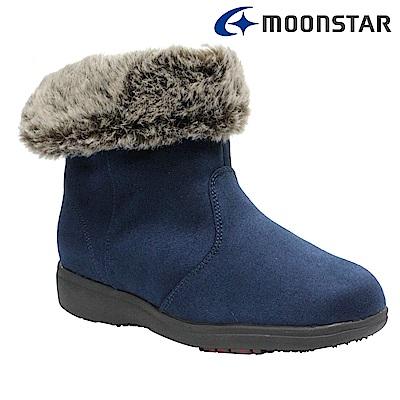 Moonstar日本 女 中筒保暖雨靴(深藍)