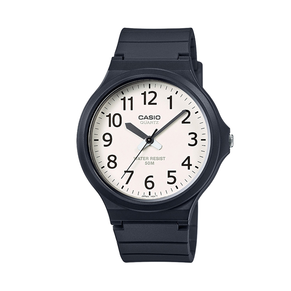 CASIO 超輕薄感實用必備大表面指針錶-(MW-240-7B)白面x黑數字/45mm