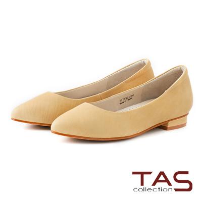TAS 素面綿羊皮尖頭低跟鞋-櫻草黃