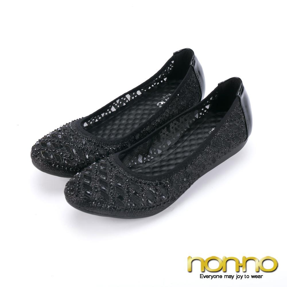 nonno幾何圖騰 鏤空性感娃娃鞋-黑